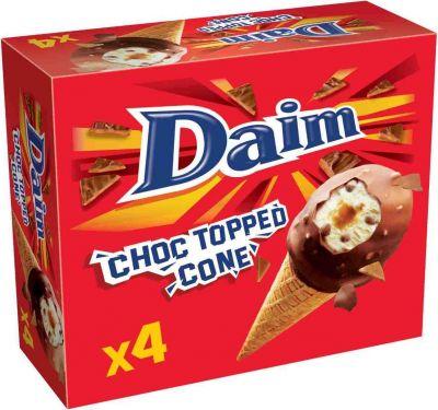 Mondelez Daim Choc Topped Cone 4x110ml