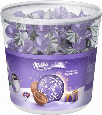 MDLZ DE Christmas Milka Feine Kugeln Alpenmilch 900g Klarsichtdose