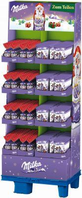 MDLZ DE Christmas Milka Weihnachtsfreunde/Mini Weihnachtsmänner 120g, Display, 256pcs